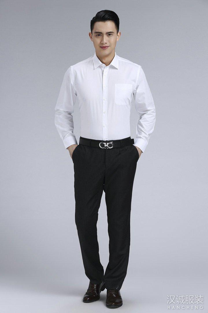 新款时尚白色商务衬衫定制1