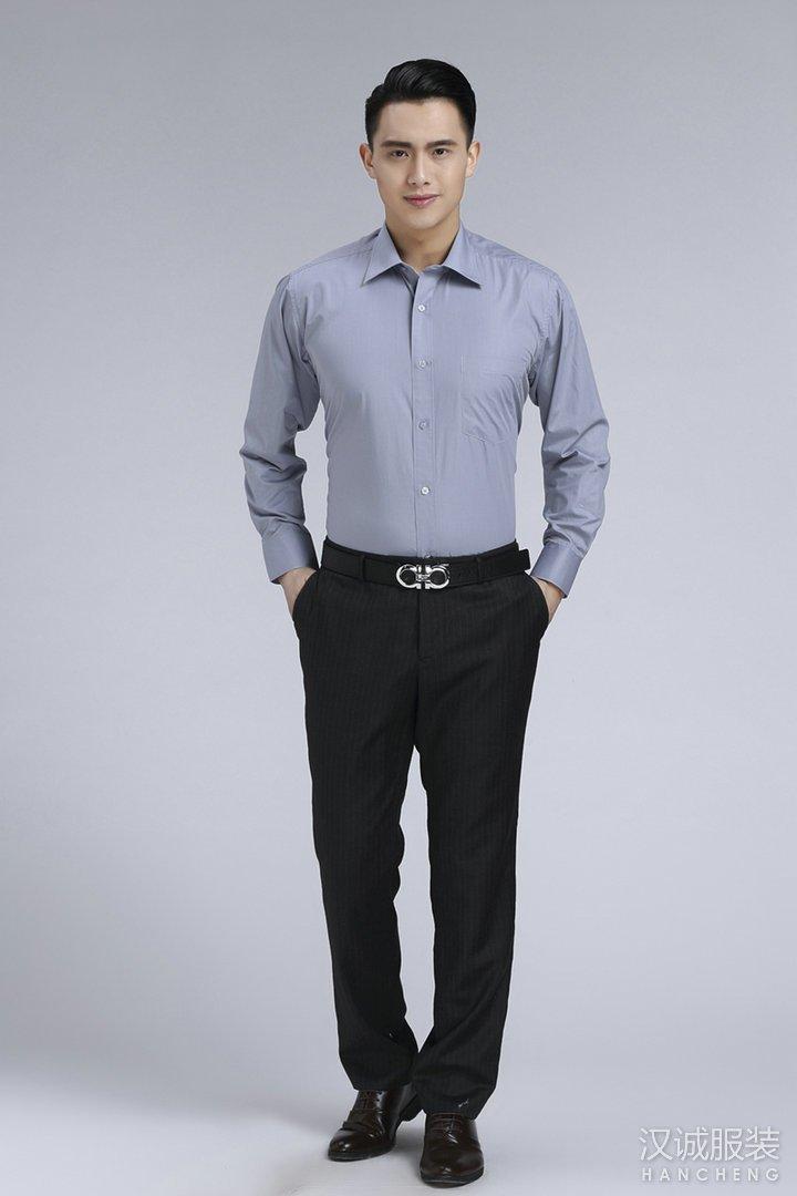 灰色男士商务免烫长袖衬衣定做1