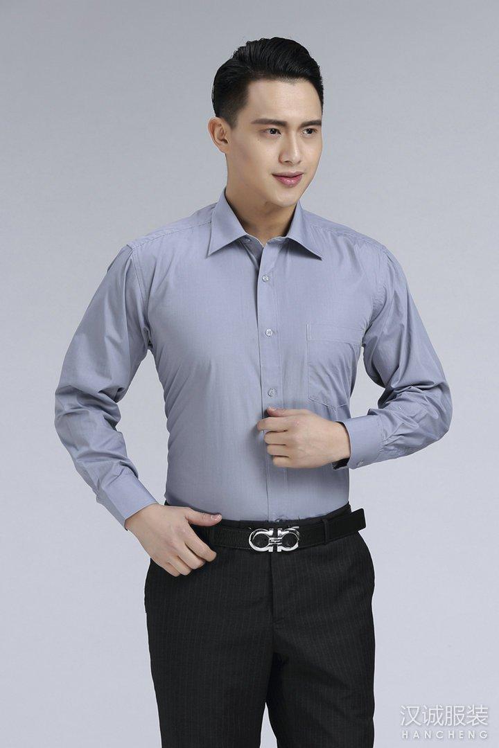 灰色男士商务免烫长袖衬衣定做2