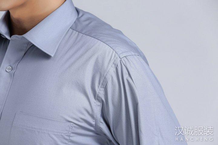灰色男士商务免烫长袖衬衣定做-细节2