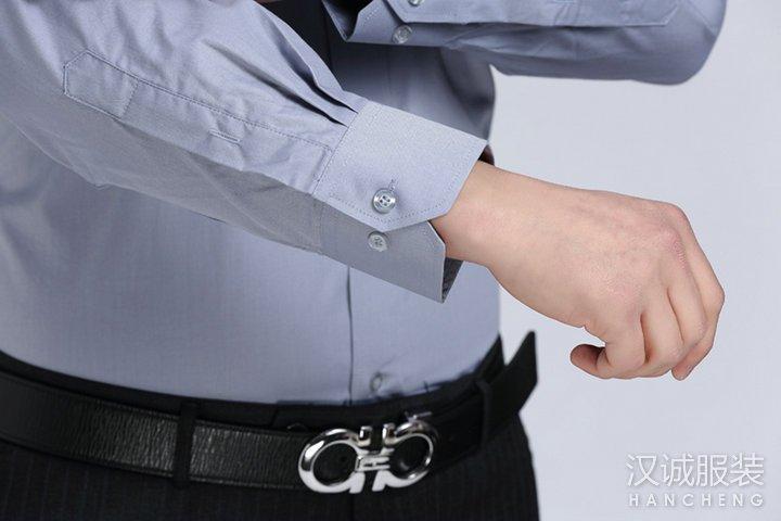 灰色男士商务免烫长袖衬衣定做-细节4