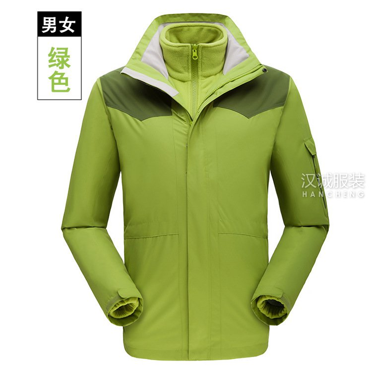 绿色户外男女三合一冲锋衣系列7