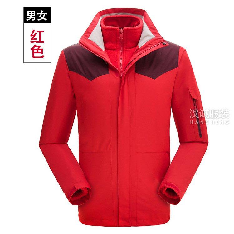 红色户外男女三合一冲锋衣系列5