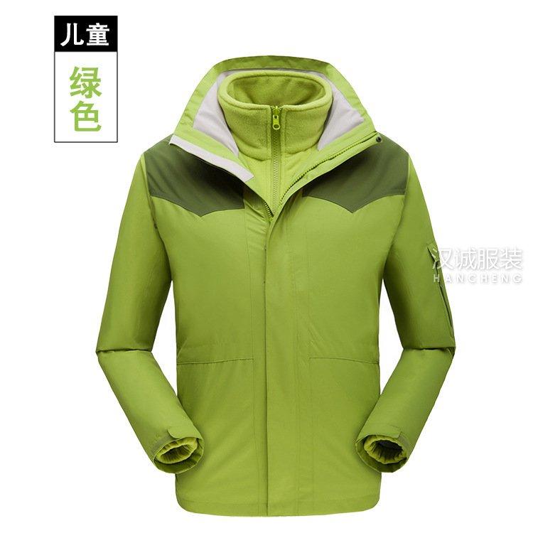 绿色户外儿童三合一冲锋衣系列3